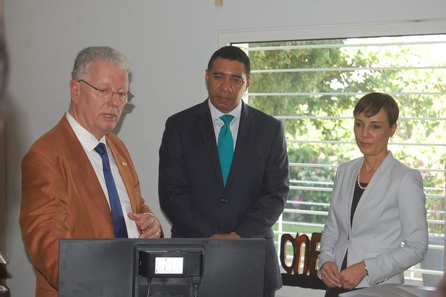 Jean-Michel Despax, The Most Honourable Andrew Holness and Mrs. Kamina Johnson-Smith ©French Embassy services